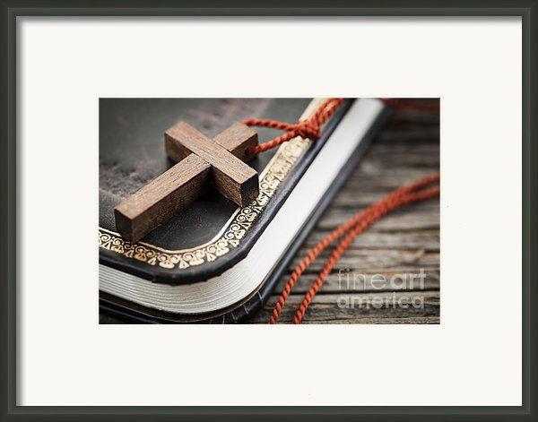 Cross On Bible Framed Print By Elena Elisseeva