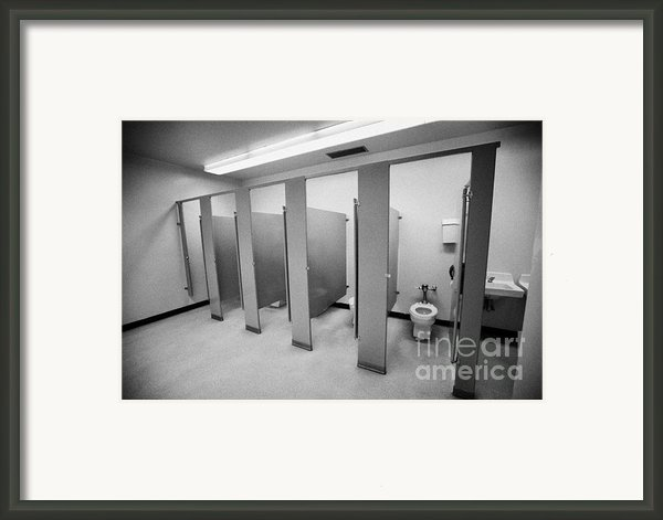 Cubicle Toilet Stalls In Womens Bathroom In A High School Canada North America Framed Print By Joe Fox