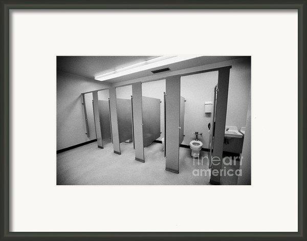 Cubicle Toilet Stalls In Womens Bathroom In A High School Canada North America Framed Print By Joe Fox