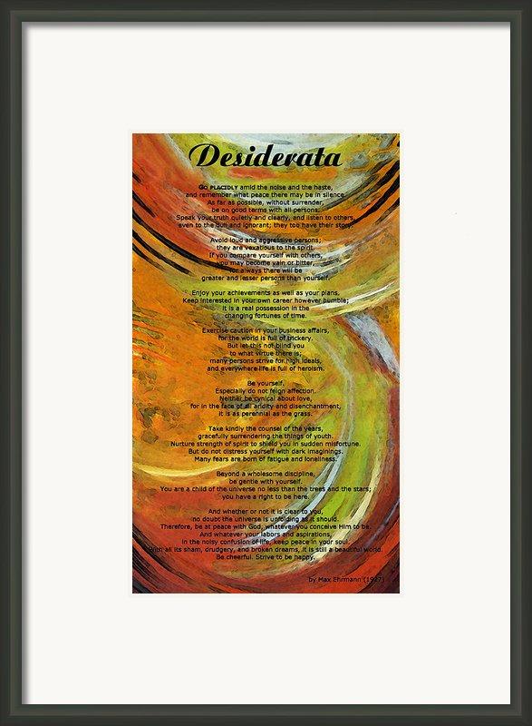 Desiderata 4 - Words Of Wisdom Framed Print By Sharon Cummings