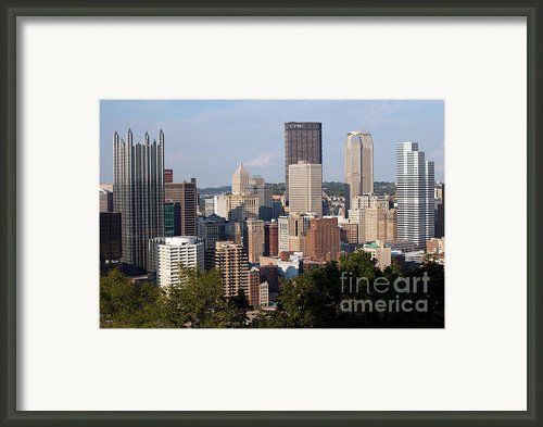 Downtown Skyline Of Pittsburgh Pennsylvania Framed Print By Bill Cobb