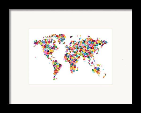 Flowers Map Of The World Map Framed Print By Michael Tompsett