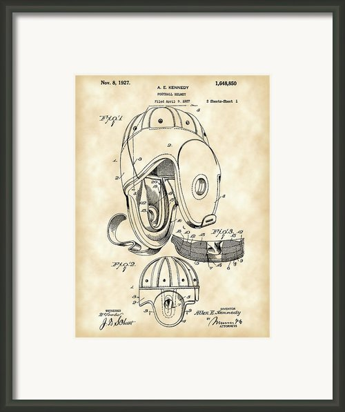 Football Helmet Patent Framed Print By Stephen Younts