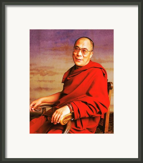 H.h. Dalai Lama Framed Print By Jan Faul
