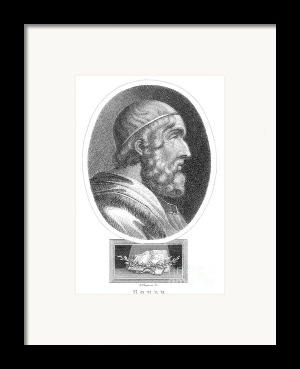 Homer, Ancient Greek Epic Poet Framed Print By Photo Researchers