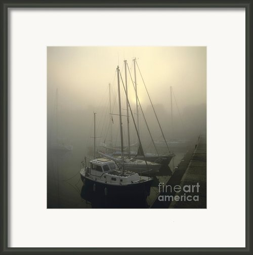 Honfleur Harbour In Fog. Calvados. Normandy. France. Europe Framed Print By Bernard Jaubert