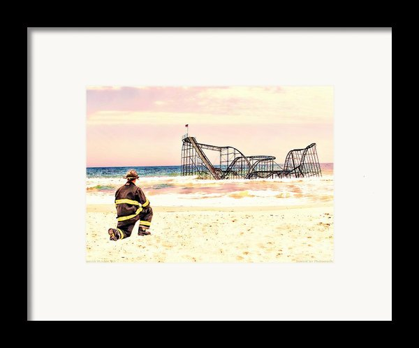 Hurricane Sandy Fireman Framed Print By Jessica Cirz