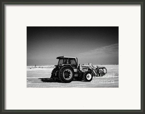 International 5140 Tractor With Front End Loader On Frozen Field Forget Saskatchewan Canada Framed Print By Joe Fox