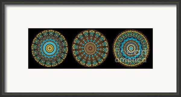 Kaleidoscope Steampunk Series Triptych Framed Print By Amy Cicconi