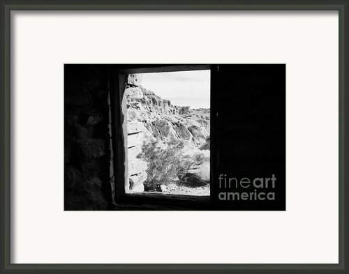 Looking Out Through Window From Interior Of Historic Stone Cabin Built By The Civilian Conservation  Framed Print By Joe Fox