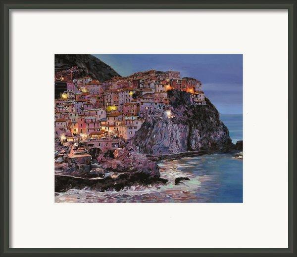 Manarola At Dusk Framed Print By Guido Borelli