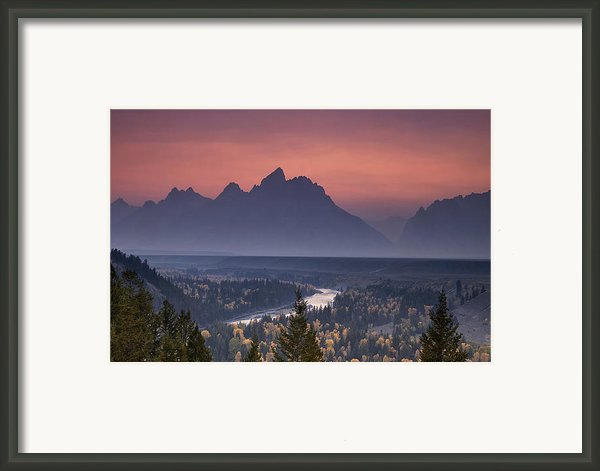 Misty Teton Sunset Framed Print By Andrew Soundarajan