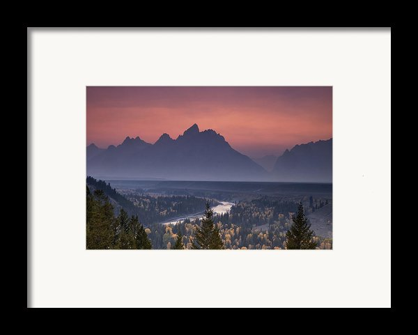 Misty Teton Sunset Framed Print By Andrew Soundarajan