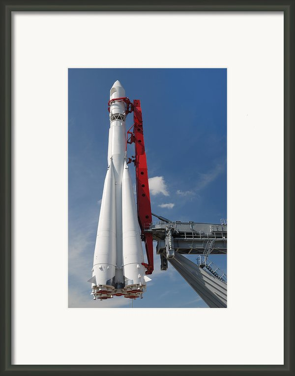Monument Of Space Rocket  Framed Print By Mikhail Olykaynen