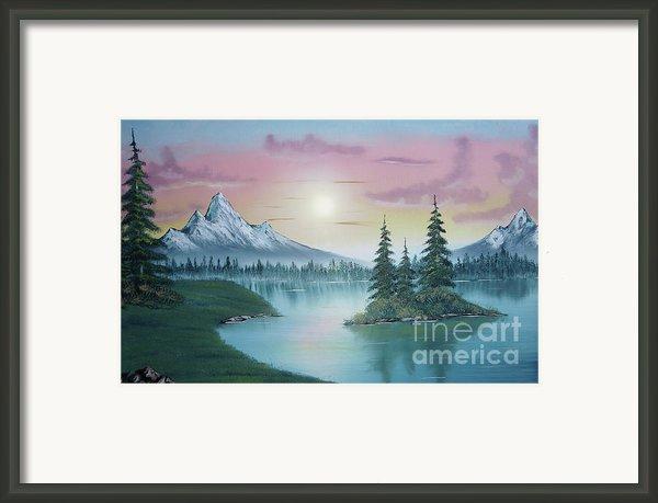 Mountain Lake Painting A La Bob Ross 1 Framed Print By Bruno Santoro