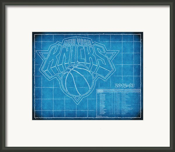Ny Knicks Blueprint Framed Print By Joe Myeress
