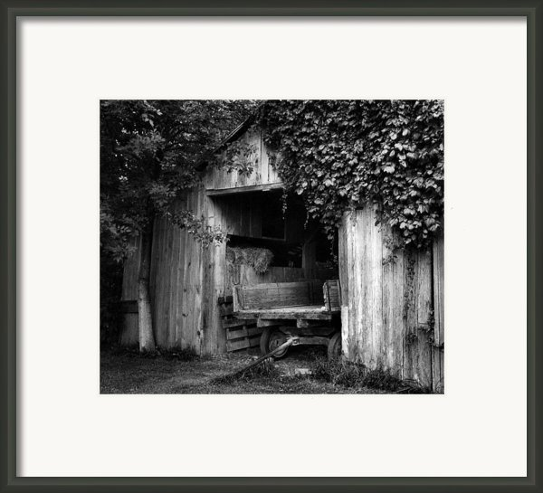 Old Barn And Wagon Framed Print By Julie Dant