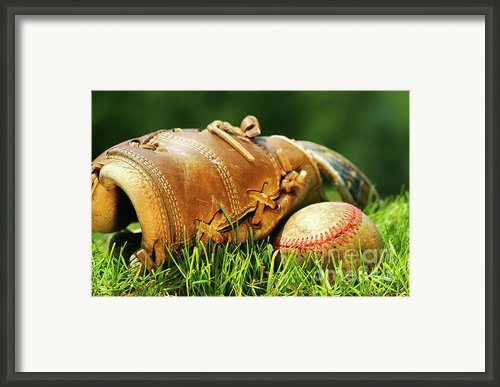 Old Glove And Baseball Framed Print By Sandra Cunningham
