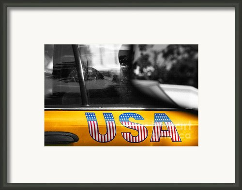 Patriotic Usa Taxi Framed Print By Anahi Decanio