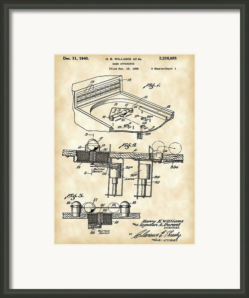 Pinball Machine Patent Framed Print By Stephen Younts