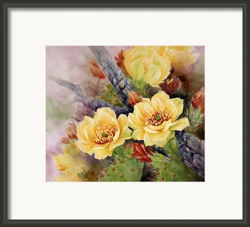 Prickly Pear In Bloom Framed Print By Summer Celeste