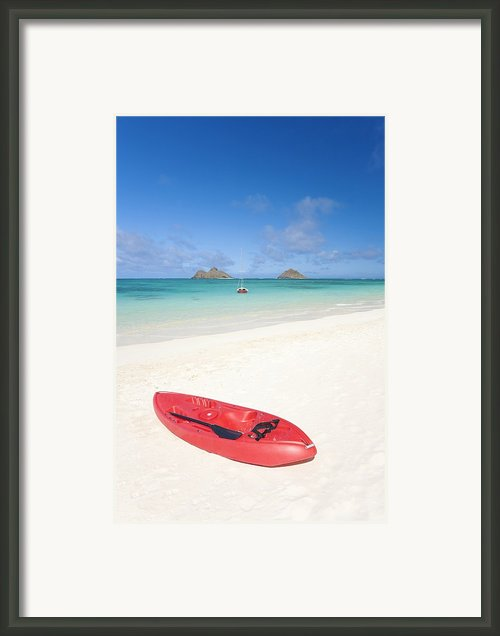 Red Kayak At Lanikai Framed Print By M Swiet Productions