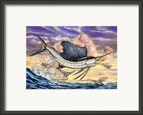 Sailfish And Flying Fish In The Sunset Framed Print By Terry Fox