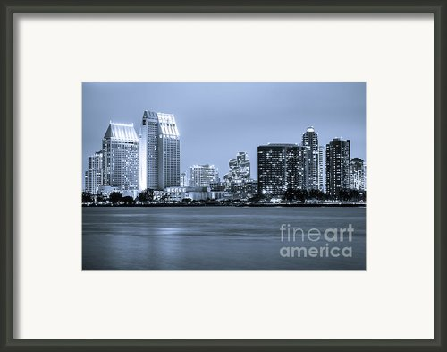 San Diego At Night Framed Print By Paul Velgos