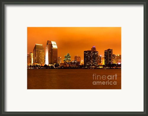 San Diego Skyline At Night Framed Print By Paul Velgos