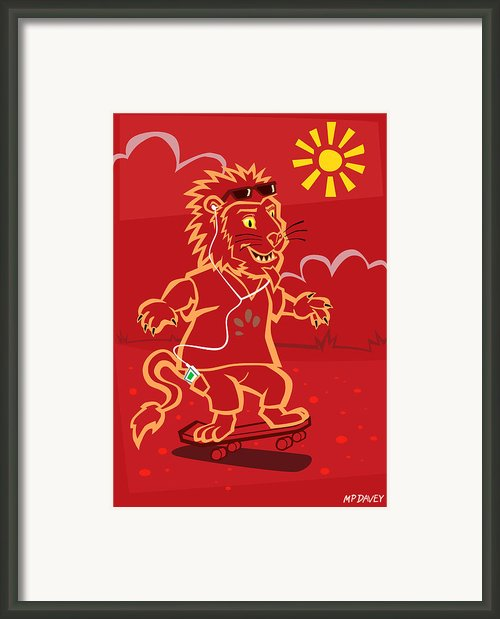 Skateboarding Lion  Framed Print By Martin Davey