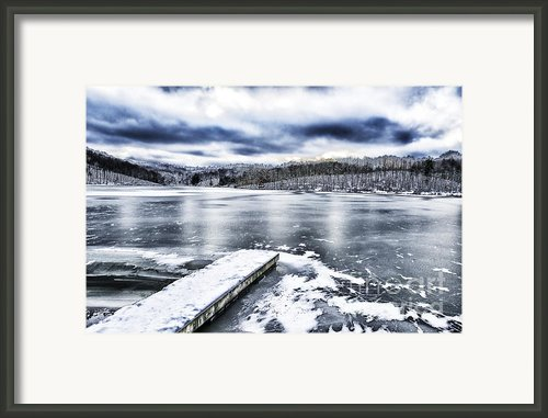 Snow Big Ditch Lake Framed Print By Thomas R Fletcher