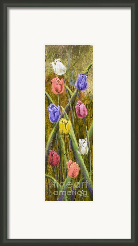 Splashy Tulips Framed Print By Vic  Mastis