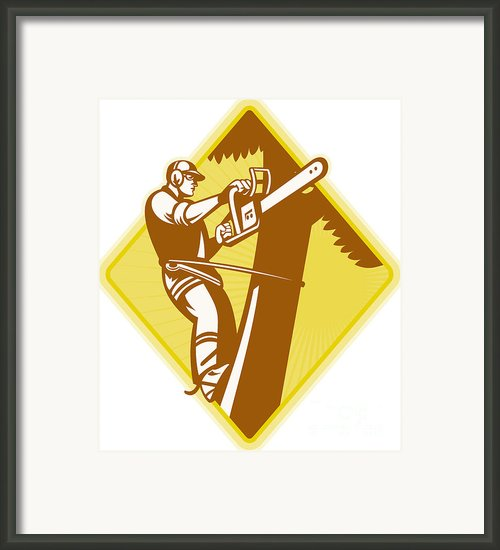 Tree Surgeon Arborist Chainsaw Retro Framed Print By Aloysius Patrimonio