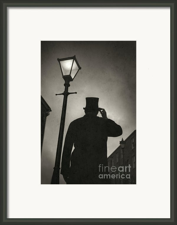 Victorian Man With Top Hat Under A Gas Lamp Framed Print By Lee Avison