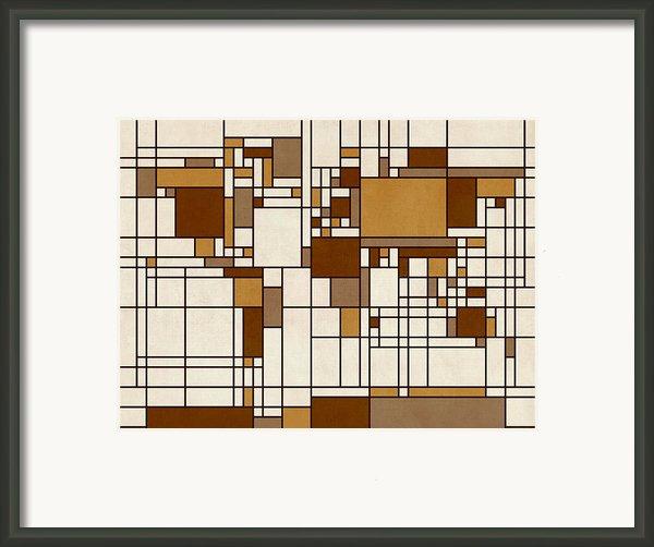 World Map Abstract Mondrian Style Framed Print By Michael Tompsett