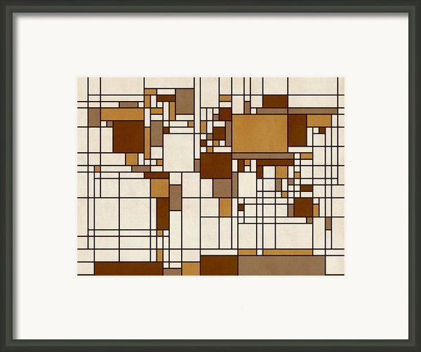 World Map Abstract Mondrian Style Framed Print By Michael Tompsett