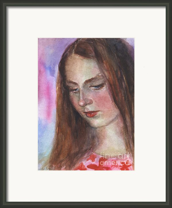 Young Woman Watercolor Portrait Painting Framed Print By Svetlana Novikova