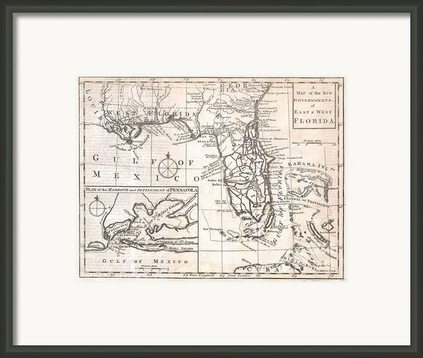 1763 Gibson Map Of East And West Florida Framed Print By Paul Fearn