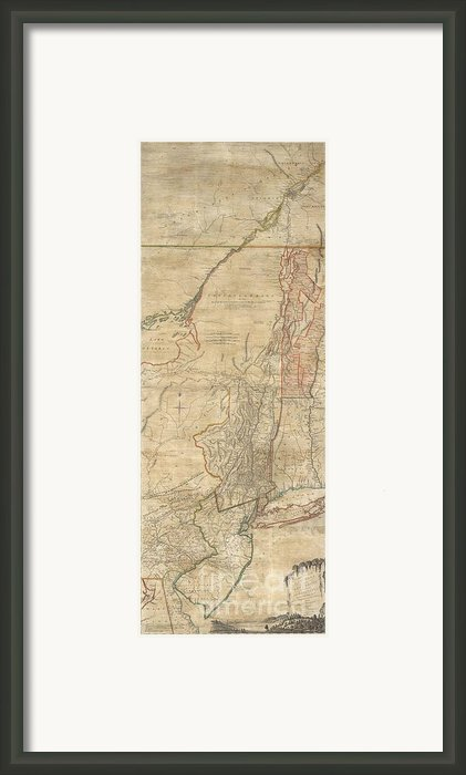 1768 Holland  Jeffreys Map Of New York And New Jersey  Framed Print By Paul Fearn