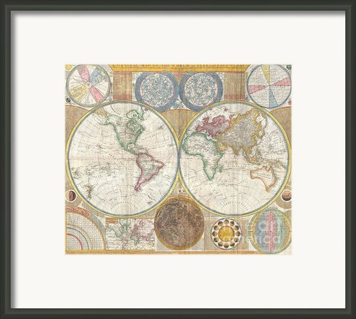 1794 Samuel Dunn Wall Map Of The World In Hemispheres Framed Print By Paul Fearn