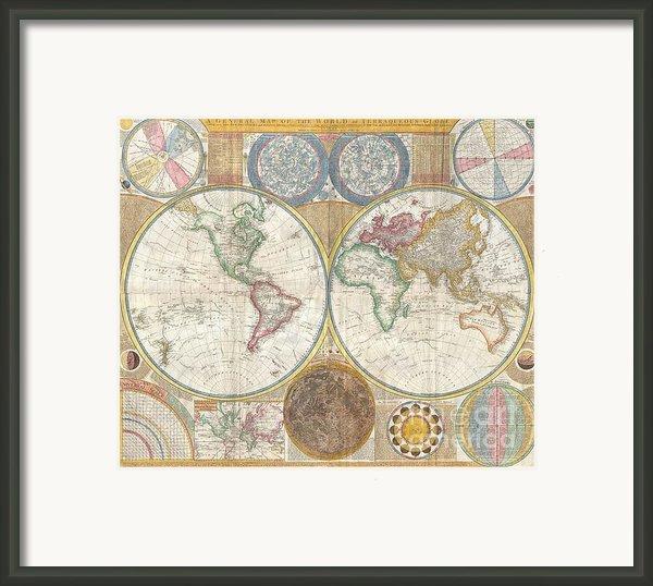 1794 Samuel Dunn Wall Map Of The World In Hemispheres Framed Print By Paul Fearn