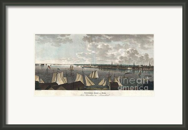 1824 Klinkowstrom View Of New York City From Brooklyn  Framed Print By Paul Fearn