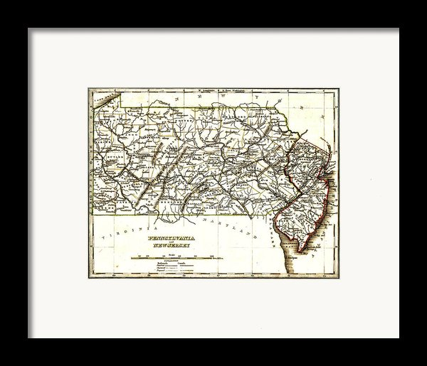 1835 Pennsylvania And New Jersey Map Framed Print By Bradford