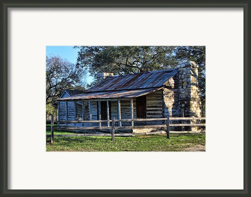 1860 Log Cabins Framed Print By Linda Phelps