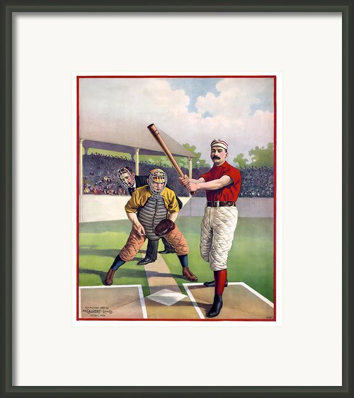 1895 Batter Up At Home Plate Framed Print By Daniel Hagerman