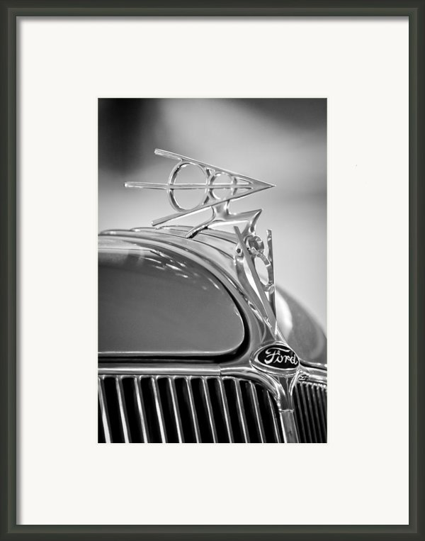 1936 Ford Deluxe Roadster Hood Ornament 2 Framed Print By Jill Reger