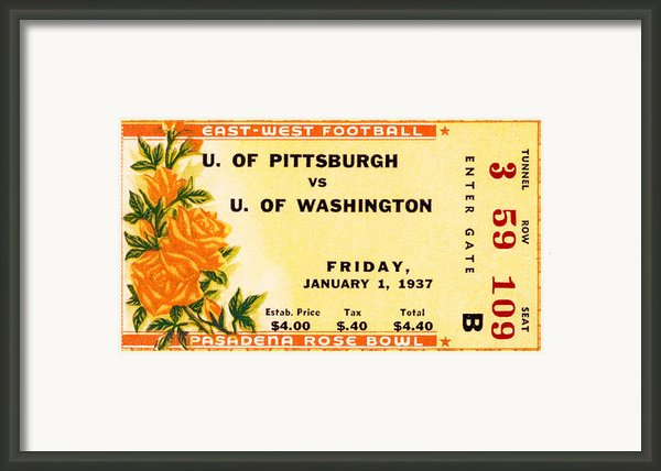 1937 Rose Bowl Ticket Framed Print By David Patterson