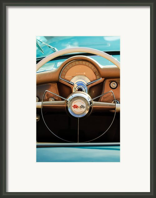 1954 Chevrolet Corvette Convertible  Steering Wheel Framed Print By Jill Reger