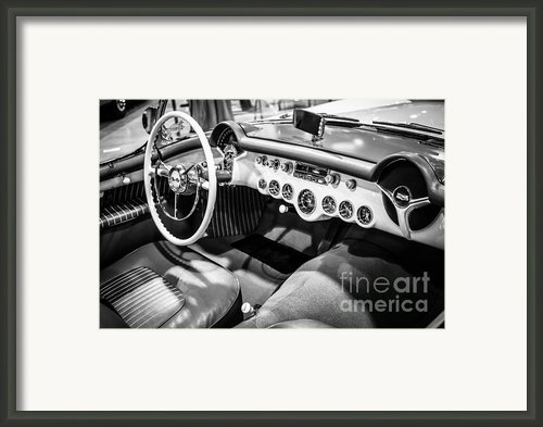 1954 Chevrolet Corvette Interior Black And White Picture Framed Print By Paul Velgos