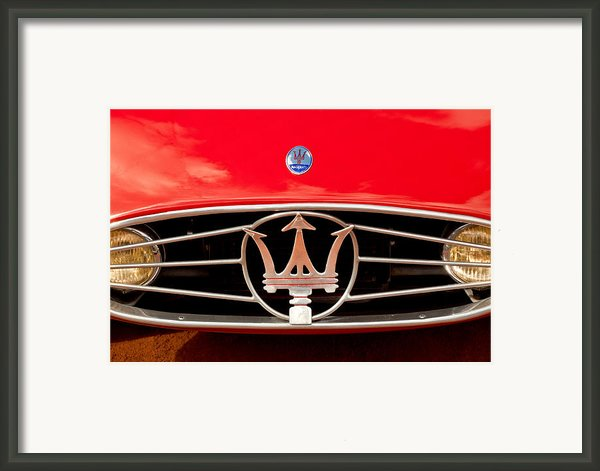 1954 Maserati A6 Gcs Hood Emblem Framed Print By Jill Reger